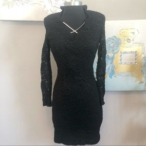 Betsy & Adam Black Sheath Lace Gothic Dress